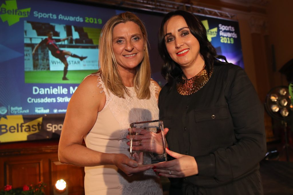 Press Eye - Belfast City Council Sports Awards - City Hall - 23rd March 2019<br />  Photograph by Declan Roughan<br />  Kim Kensett, Active Belfast presents the Pathways to Club Award to Danielle McDowell, Crusaders