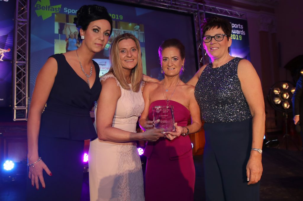 Press Eye - Belfast City Council Sports Awards - City Hall - 23rd March 2019<br /> Photograph by Declan Roughan<br /> Kim Kensett, Active Belfast presents the Healthy Lifestyle award to WISPA NI